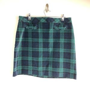 Talbots green Black Watch Plaid Velvet Skirt 16P